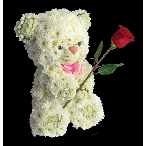 Купить на заказ Заказать Медвежонок с цветком с доставкой по Богровое  с доставкой в Боровом
