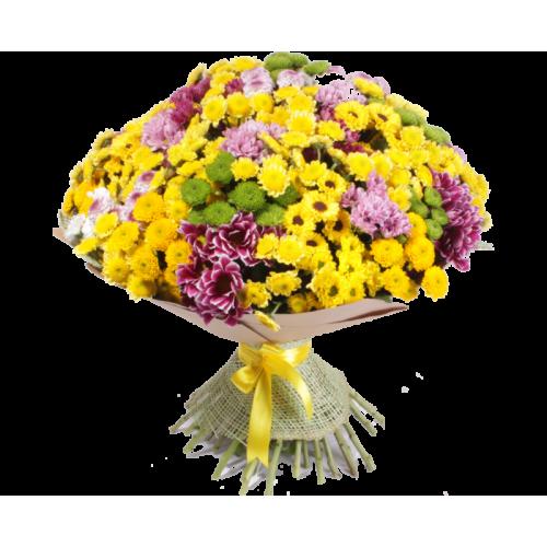Купить на заказ Заказать Букет из 101 хризантемы с доставкой по Богровое  с доставкой в Боровом