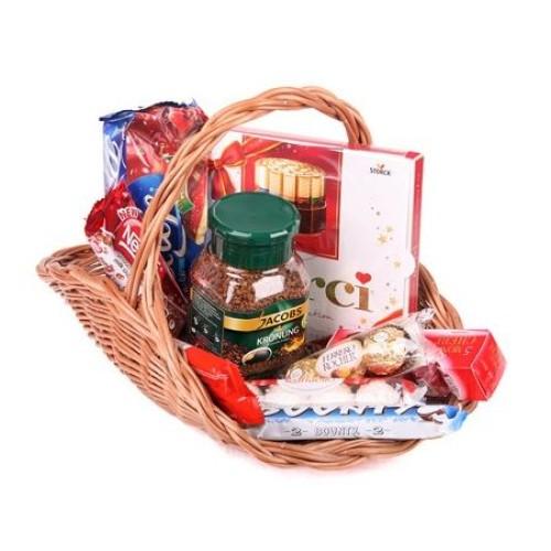 Купить на заказ Заказать Кофейно-конфетная корзина с доставкой по Богровое  с доставкой в Боровом