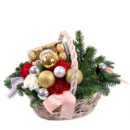 Купить на заказ Заказать Корзинка «Новогоднее настроение» с доставкой по Богровое  с доставкой в Боровом