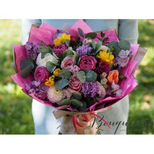 Купить на заказ Цветочный микс из гвоздик  с доставкой в Боровом