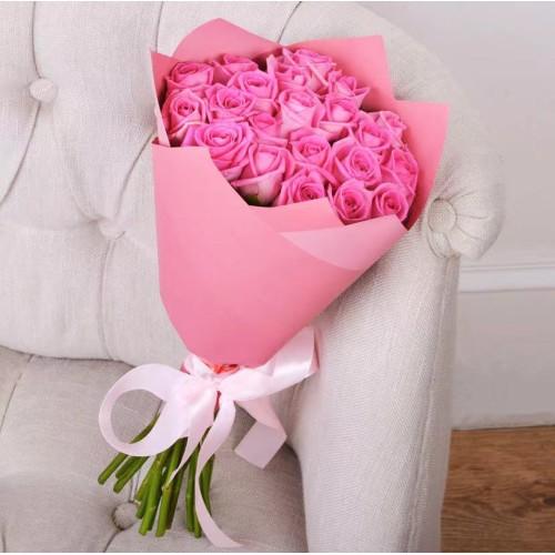 Купить на заказ Заказать Букет из 21 розовой розы с доставкой по Богровое  с доставкой в Боровом