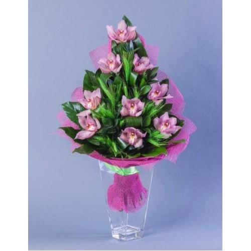 Купить на заказ Заказать Букет из 9 Орхидей с доставкой по Богровое  с доставкой в Боровом