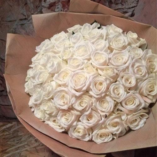 Купить на заказ Заказать Букет из 101 белой розы с доставкой по Богровое  с доставкой в Боровом